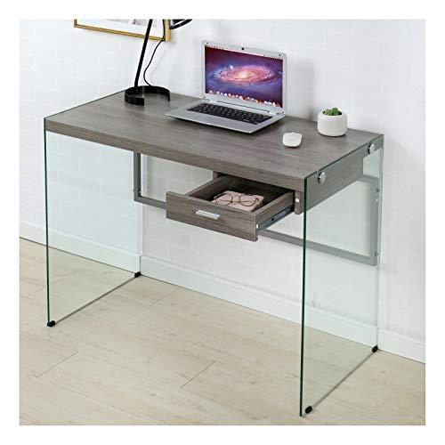 Cherry Tree Möbel CTF Otto modernes Design Walnuss grau Holz und Glas Computer Schreibtisch Konsole Tisch