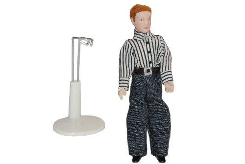 alles-meine.de GmbH Mann - Puppe für Puppenstube Maßstab 1:12 - Porzellan Puppen Biegepuppe - Nostalgie Porzellanpuppe Miniatur - Vater Sammlerpuppe - Sammelpuppe