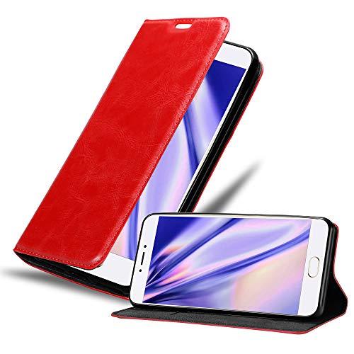 Cadorabo Hülle für MEIZU MX6 in Apfel ROT - Handyhülle mit Magnetverschluss, Standfunktion & Kartenfach - Hülle Cover Schutzhülle Etui Tasche Book Klapp Style