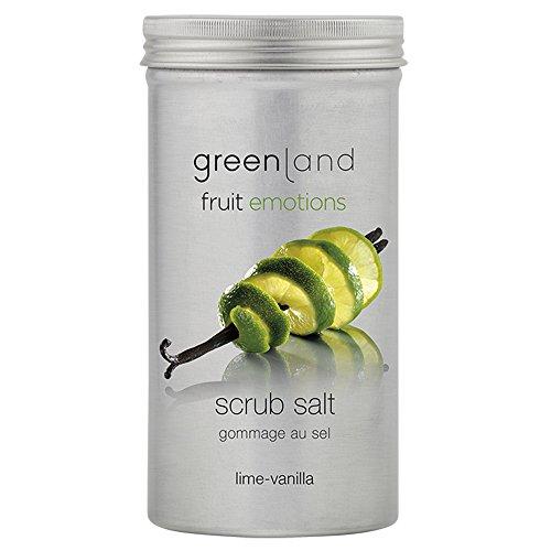 Greenland Peelingsalz mit Limette Vanille | Erfrischendes Peeling ohne Silikone | Wohlduftendes Sea Salt Scrub | Tolles Ganz Körper Peeling