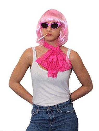 Juego de accesorios para disfraz de niña de los años 50, 3 piezas, incluye peluca de Bob rosa claro, bufanda de encaje rosa, gafas de sol estilo 50 (lentes de sol de 50)
