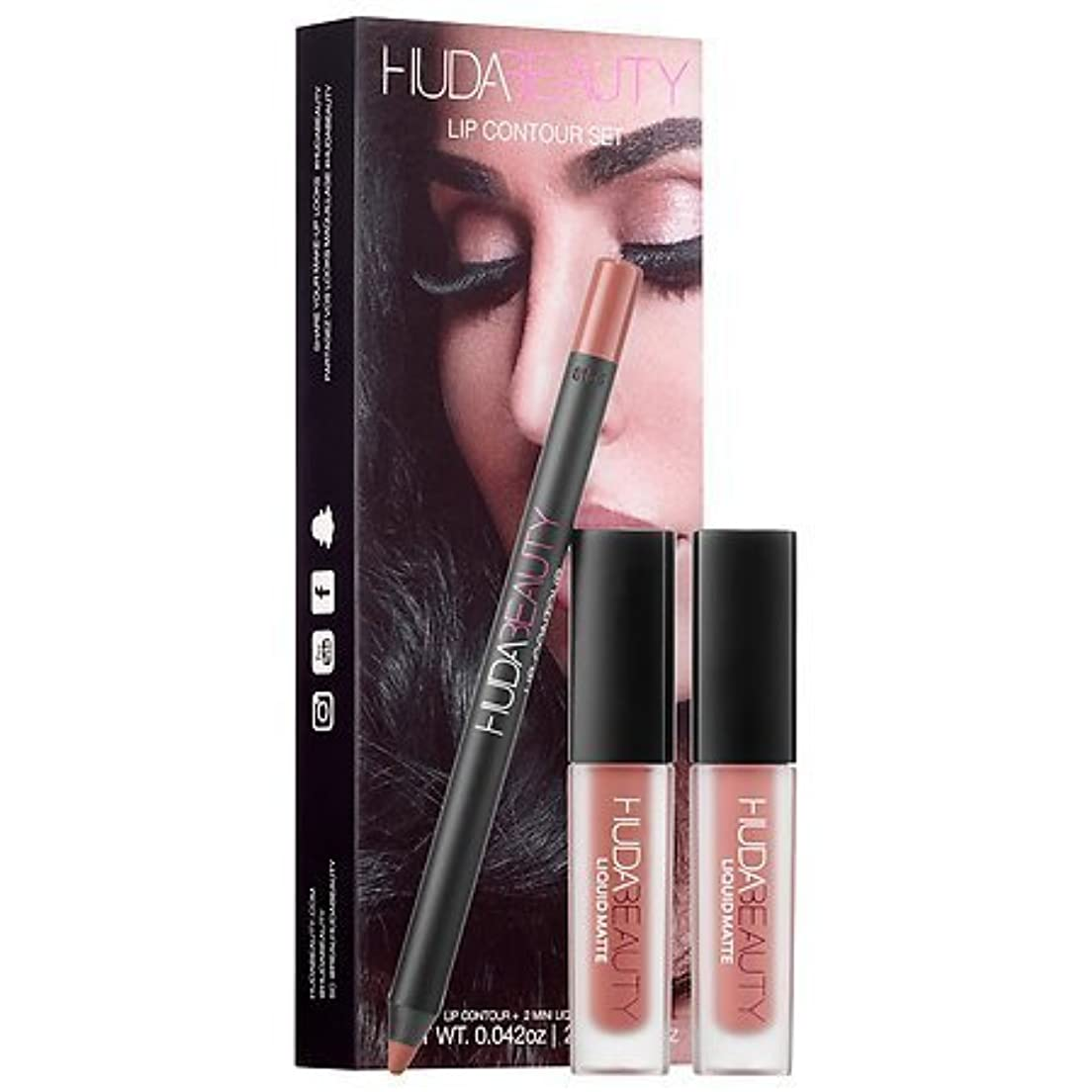 フィルタシダ怒っているHuda Beauty Lip Contour Set - Trendsetter (brown nude) & Bombshell (subtle pinkish nude) [並行輸入品]