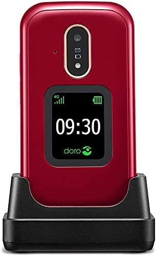Doro 7080 Teléfono Móvil 4G Dual SIM con Tapa para Mayores con Whatsapp para Videollamadas, Facebook, Botón de Asistencia con GPS y Base de Carga [Versión Española y Portuguesa] (Rojo)
