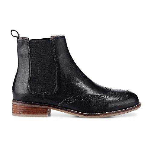 Cox Damen Damen Chelsea-Boots aus Leder, Schwarze Stiefelette mit Stretch-Einsatz und Lochmuster...