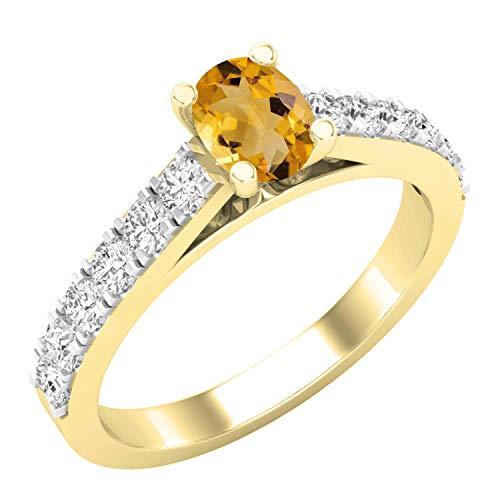 Dazzlingrock Collection - Anillo de compromiso para mujer, diseño de piedras preciosas ovaladas y diamantes blancos redondos de 6 x 4 mm, oro amarillo de 18 quilates