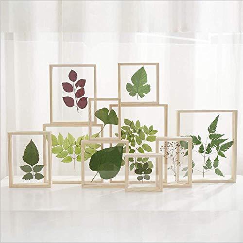 Marco de fotos de herbario de vidrio de doble cara creativo de madera color de madera marco de imagen tridimensional marco de foto de madera transparente personalizado 13,7 * 13,7 cm