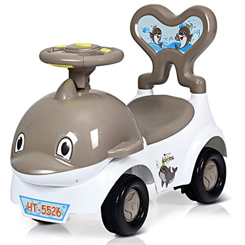 GYMAX. 3-in-1 Ride-on Push Car with Music, Horn, Flash Light, Storage Compartment, Non-Slip Tires, Multi-purpose Baby Stroller Toy for 18-36 Months Toddler