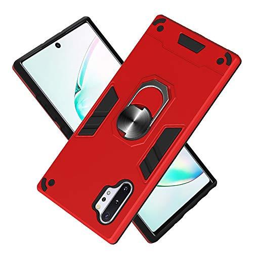 Armure Coque Samsung Galaxy Note10+/Note10Plus 5G, Boîtier PC + TPU Double Layer Housse résistant aux Chocs avec Support à Anneau Rotatif à 360 degrés (Rouge)