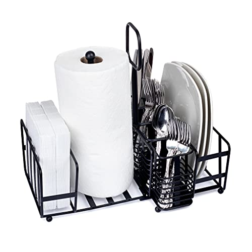 Baflan Utensil Caddy - Silverware, Plate, Napkin Organizer with Paper Towel Holder - Ideal for Kitchen, Dining, Entertaining, Picnics - Black