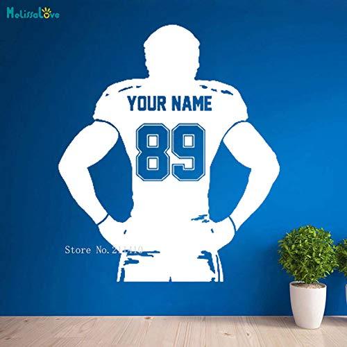 AWQR Robuste Fußballspieler-Wandaufkleber Benutzerdefinierte Jersey-Namen und -Nummern verzieren Halbkörper-Rugby-Sport-Vinyl-Abziehbilder Jungenzimmer
