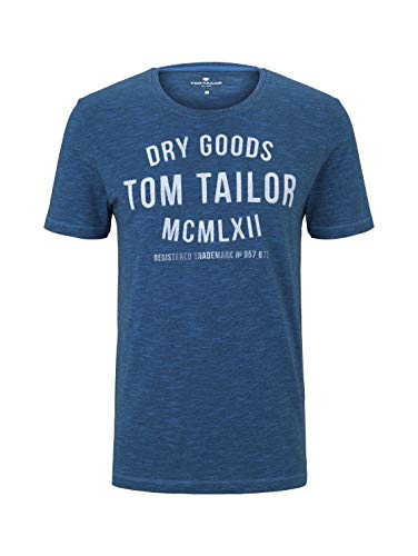 TOM TAILOR Herren Crew Neck Logo Print T-Shirt, Blau, Large