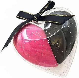 HEYNA Q Makeup Sponge Set Beauty Foundation Blending Sponge, Flawless for Liquid, Cream, and Powder, 2 Pcs Black and Red Sponge in Heart Shape Case