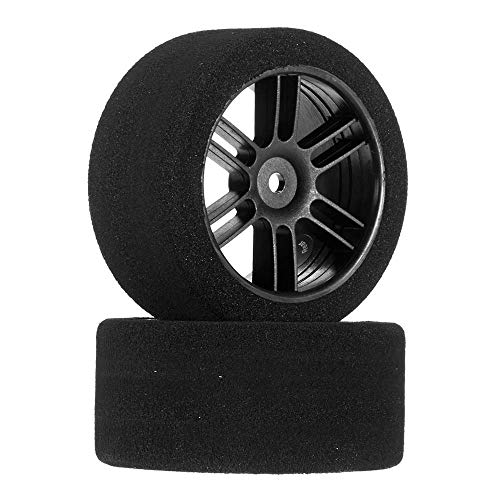 Price comparison product image Johns Bsr Racing 1 / 10 30mm Nitro Touring Foam Tires,  Mounted,  35 Rear,  Black Wheels (2)
