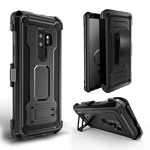 Galaxy S9 Plus case, Full-Body Rugged Belt Clip Holster Case with Built in Kickstand, Holster Combo Cover [Unicorn Beetle Pro] for Galaxy S9 Plus case