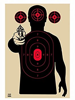 Bad Guy with a Gun Silhouette Target Paper Shooting Targets Shooting Range Targets Paper Silhouette Targets Fun Targets  Red and Black 50 Pack