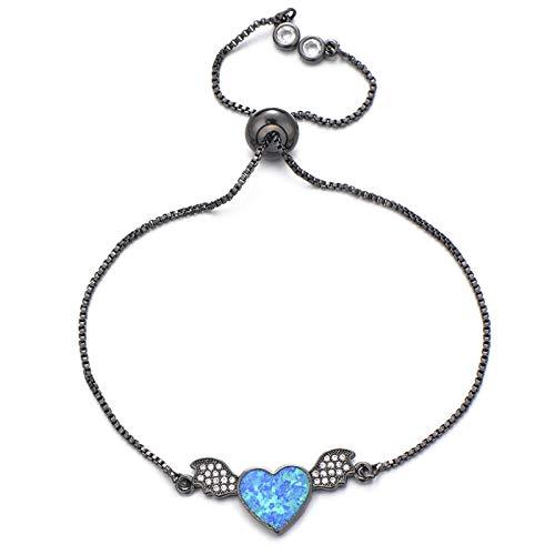 Mano Pulseras Brazalete Joyería Mujer Pulsera Azul Grande De Lujo con Cadena Ajustable De Circonita Cúbica, Pulseras De