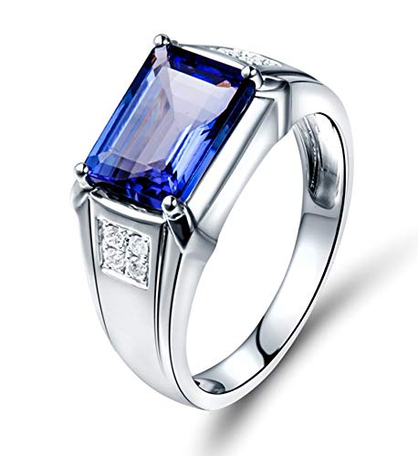 AtHomeShop Real Gold Collection, 18K White Gold Rings, Elegant Wide Ring Proposal Rings with Sparkling Rectangular Tanzanite and Diamond for New Year Gift White Gold