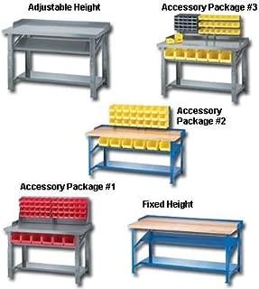 Akro Mils - Non Plastic, Fixed Height - Hardwood Top, Hrhwb3072Bf1P-0, Size W X L: 30 X 72, Frame Color Blue, Shelf Option: Both Shelves Forward, Wt. (Lbs.): 270, Rhwb3072Bf1P-0