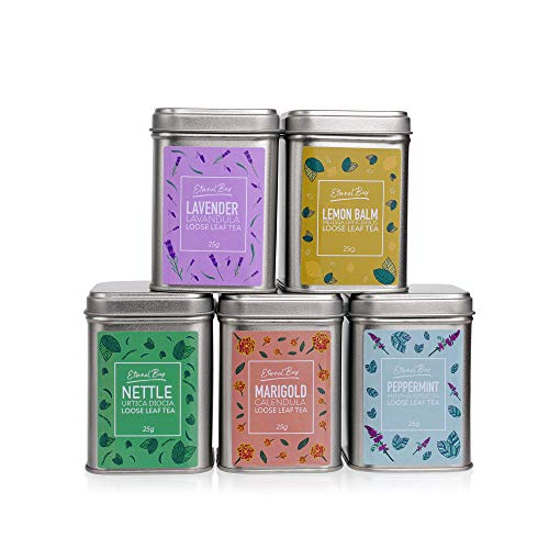 Tea Pack Herbal Loose Leaf Tea Gift Set Tin Collection - Present Gift Box - Peppermint, Nettle, Marigold, Lavender, Lemon Balm