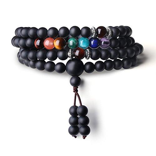 COAI Bracciale Collana 108 Perle Mala in Onice Opaca e Pietre dei 7 Chakra, Bracciale Buddhista Unisex