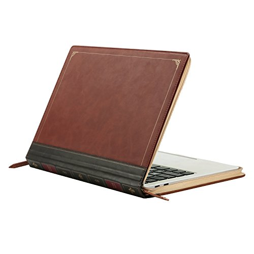 MOSISO PU Leather Sleeve Compatible with 2020-2018 MacBook Air 13 A2179 A1932/2020-2016 MacBook Pro 13 A2251 A2289 A2159 A1989 A1706 A1708, Vintage Classic Zippered Case Premium Book Cover, Brown