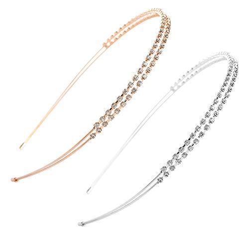Dusenly Haarreifen, doppelschichtig, Strasssteine, exquisit, Kristall, glänzendes Metall, Haarreifen, Haarschmuck, Gold + Silber, 2 Stück