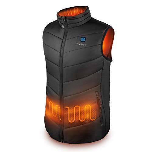 IUREK Heizweste, 7,4 V Elektrische Beheizte Weste für Männer, ZD920, 3 Einstellbare Temperaturen, wasserdichte und Waschbare Weste, für Outdoor Aktivtäten
