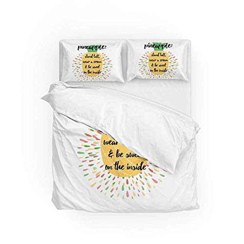 Soft Quilt Bedding Set Sweet Pineapple Duvet Cover with Pillowcases Set 2 PCS 155 x 220 CM, Full Size