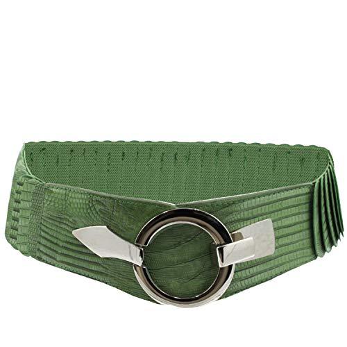 Glamexx24 Cinturón elástico para mujer, 6 cm de ancho, con anillo plateado., Serpiente verde.,