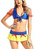 AdoreShe Women's Sexy Cosplay Lingerie princess Costumes Dress Strappy Mesh Mini skirt(Q002 Blue-L)