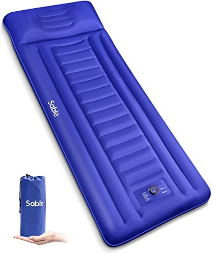 Sable123 Camping Sleeping Pad/Mat, Most Comfortable Camp Sleep Air Mattress with Built-in Pillow & Pump, Insulated & Ultralight, Compact Portable Fast Inflatable for Backpacking Hiking Tent, 5R-Value