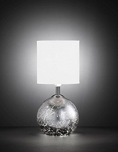 Außergewöhnliche Tischleuchte mit beleuchtetem Korpus Blattsilber Optik G9 E14 Wippschalter Stoffschirm bauchige Tischlampe Beistelllampe Schlafzimmer Wohnzimmer Lampe Leuchte innen
