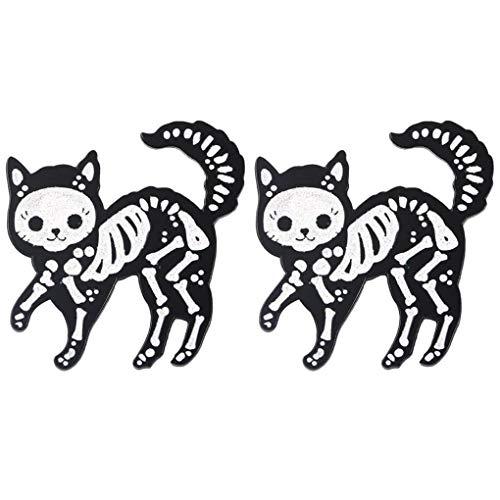 CoSunny Anstecknadel, Motiv: Perspektive Skelett, Katze; Emaille, Schwarz, 2 Stück