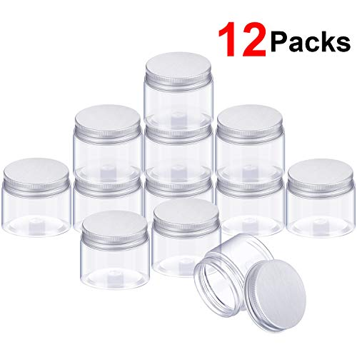 SATINIOR 12 Pack Clear Plastic Storage Favor Jars Wide-Mouth Plastic Containers with Lids for Beauty Products (2 Ounce)