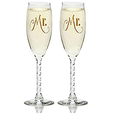 Mr. & Mr. Gay Couple Gold Champagne Flutes - His and His Same Sex Wedding, Engagement Toast Glass Set