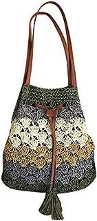 TOOGOO Women Bucket String Beach Bags Summer Straw Bag Female Shoulder Bag Messenger Crossbody Bags Braided Bucket Bag Khaki