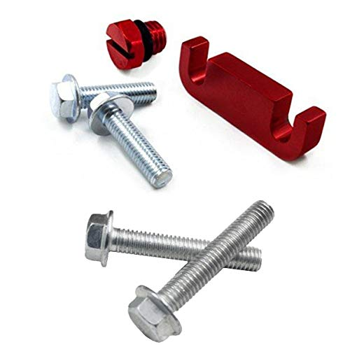 iFJF Fuel Filter Head Housing Spacer, Air Bleeder Screw and 4pcs Bolts -for Duramax 2001-2017 (Red)