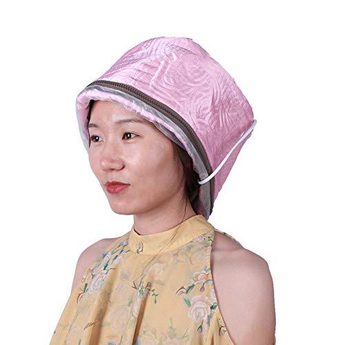 Sombrero eléctrico con termostato de 3 niveles, capucha para el cuidado del cabello con calefacción ajustable, fácil de usar, apto para el hogar o la peluquería, enchufe de la UE de 220 V (rosa)