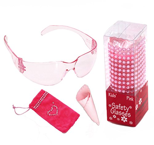 Cute pink kids safety glasses gift set with soft pink pouch & wipe and bling stickers for small girls unique Christmas stocking stuffers