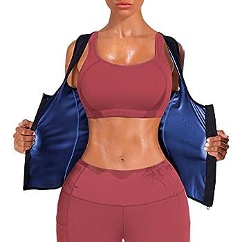 Kumayes Sauna Waist Trainer Vest for Women Weight Loss Sauna Suit Sweat Slimming Body Shaper Workout Tank Tops with Zipper  Blue Large