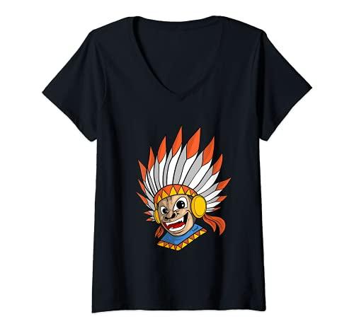 Mujer India Mono Indgena Americano Camiseta Cuello V