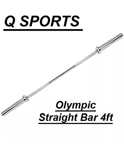 Q Sports - Manubrio olimpico dritto e ricciolo, 1,2 m, per pesi olimpici da 5 cm, attrezzatura per sollevamento pesi e bodybuilding per palestra e allenamento a casa con collari a molla inclusi