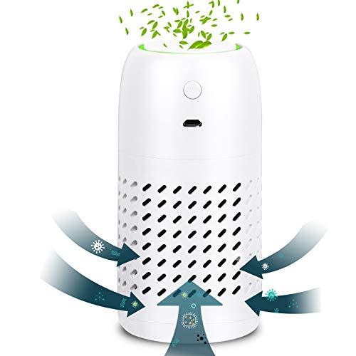 BLANDSTRS Purificador de aire portátil para el hogar True HEPA filtro 3 etapas purificadores de aire de humo (5.1 x 2.5 pulgadas), 20 db silencioso limpiador de aire para oficina, dormitorio, alergias, mascotas, moho y polen, color blanco