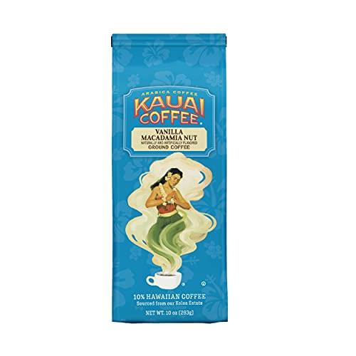 Kauai Hawaiian Ground Coffee, Vanilla Macadamia Nut Flavor (10 oz Bag) - 10% Hawaiian Coffee from Hawaii's Largest Coffee Grower - Bold, Rich Blend