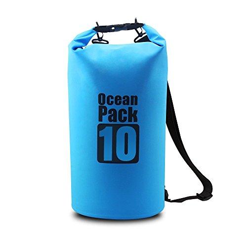 Homar–Bolsa seca impermeable mejor en el equipo de deportes de agua accesorios de kayak floating portátil mochila perfecta para barcos–Kayak canoa Pesca Rafting Piscina Flotante y Camping Azul azul Talla:10