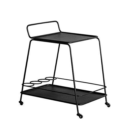 Mesa de decoración de Muebles Carro de Barra de 2 Capas Mueble de Metal Comedor Estante de Almacenamiento para Autos Sala de Estar Dormitorio Cuadrado Redondo (Color: Negro Tamaño: 14.96 * 21.25 *