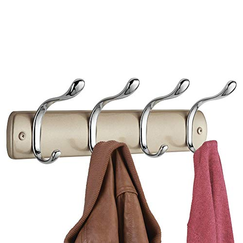 mDesign Hakenleiste aus Stahl – Wandgarderobe mit 8 Garderobenhaken – zur Aufbewahrung von Mänteln, Jacken, Schals, Handtüchern – Perl Champagner