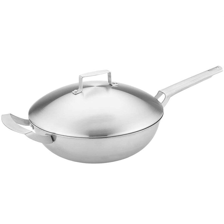 サイズ彼はフレット焦げ付き防止の鍋32cmのすべての鋼鉄 - 電磁調理器のガスこんろの二重目的の鍋普遍的な台所鍋