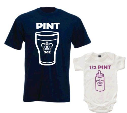 Daddy Vaso de T-Camiseta de Manga Corta y bebé Juego de diseño de Chica con Media Pinta Body de