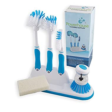 Kitchen Cleaning 6 Piece Set, Including Sponge and Caddy for Scrubbing Dishes, Bottles, Utensils, Sinks, Grout, Peeling and Cleaning Vegetables